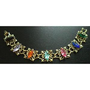 vintage multicolor rhinestone gold bracelet